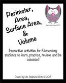 Perimeter, Area, Surface Area & Volume Unit: Activities, G