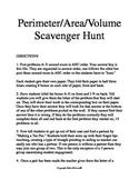 Perimeter Area Volume Scavenger Hunt / Circuit