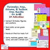 Perimeter, Area, Volume & Surface Area Activity Bundle