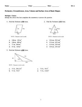 Perimeter area and circumference teaching resources teachers area volume surface area examview test bank fandeluxe Choice Image