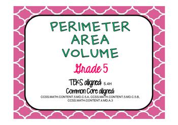 Perimeter, Area & Volume Test Prep Task Cards (GRADE 5)