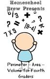 Perimeter – Area – Volume for Fourth Graders