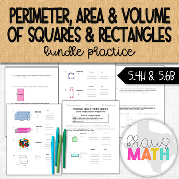 Perimeter, Area & Volume of Rectangles and Squares Guided Practice (GRADE 4 & 5)