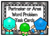 Perimeter & Area Word Problems Task Cards PLUS Cooperative Learning Activities