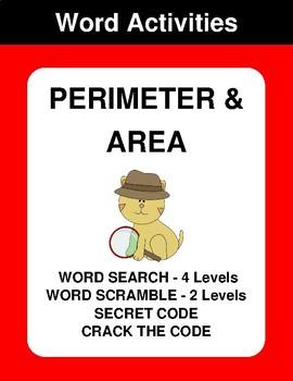 Perimeter & Area - Word Search, Word Scramble,  Secret Code,  Crack the Code