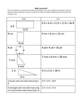 Perimeter, Area, and Circumference Math Journal