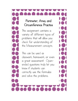 Perimeter, Area, and Circumference Practice