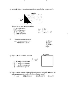 Perimeter, Area, and Circumference Study Guide.