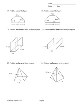Perimeter, Area, and Surface Area Test and Review
