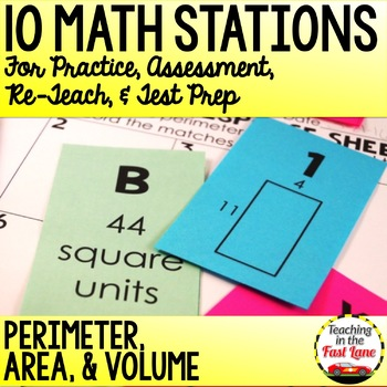 Perimeter, Area, and Volume Test Prep Math Stations