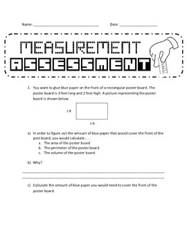 Perimeter, Area and Volume Assessment