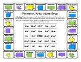Perimeter, Area and Volume - Bingo Board Game