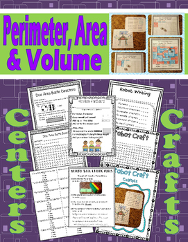 Perimeter, Area, and Volume Centers and Crafts