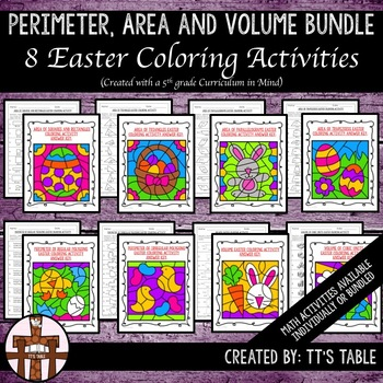Perimeter, Area, and Volume Easter Coloring Activities Bundle