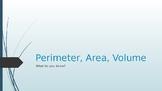 Perimeter, Area, and Volume Game