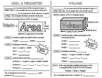 Perimeter, Area and Volume Interactive Notebook