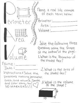 Perimeter, Area, and Volume Math Doodle