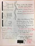 "Perimeter,Area,and Volume Math Doodle KEY"""