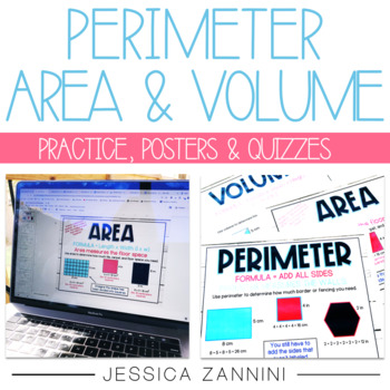 Perimeter, Area, and Volume Posters, Practice, and Assessments