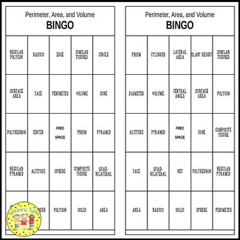 Perimeter, Area, and Volume Pre-Algebra BINGO