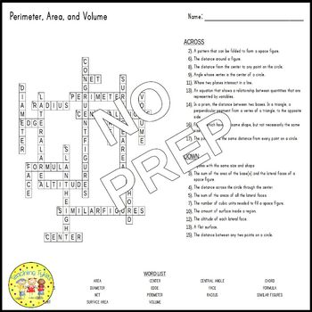 Perimeter, Area, and Volume Pre-Algebra Crossword Puzzle