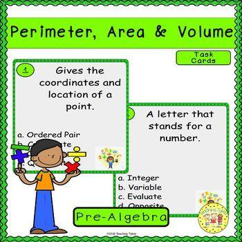 Perimeter, Area, and Volume Pre-Algebra Task Cards