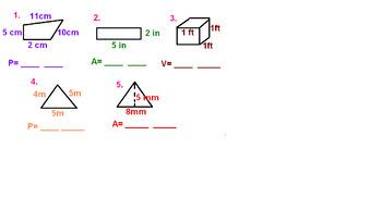 Perimeter, Area, and Volume Quick Quiz