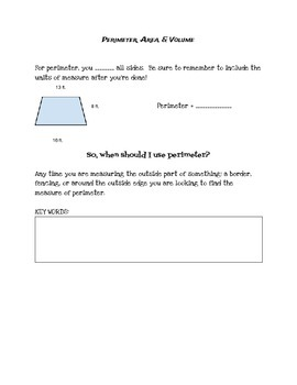 Perimeter, Area, and Volume Review