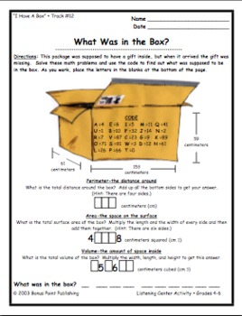 """Perimeter, Area, and Volume Song and a Sheet: """"I Have a Box"""""""
