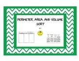 Perimeter, Area, and Volume Sort