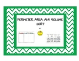 Perimeter, Area, and Volume Sort