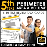 Perimeter, Area and Volume Task Cards | TEKS 5.4H Review |