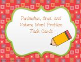 Perimeter, Area and Volume Word Problem Task Cards TEKS 5.4H