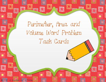 Perimeter, Area and Volume Word Problem Task Cards TEKS 5.4H