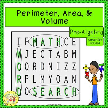 Perimeter, Area, and Volume Word Search