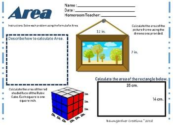 Perimeter, Area, and Volume Worksheet Bundle