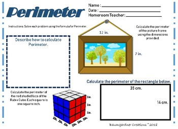 Perimeter, Area, and Volume Interactive Journal Pages and Worksheets