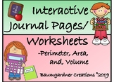 Perimeter, Area, and Volume Interactive Journal Pages and