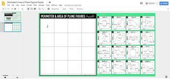 Perimeter & Area of Plane Figures Puzzle: DIGITAL VERSION for Google Slides™