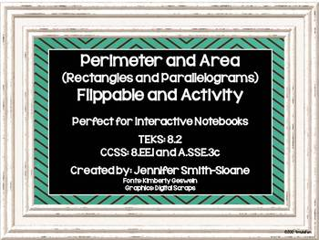 Perimeter & Area of Rectangles & Parallelograms Lesson for Interactive Notebooks