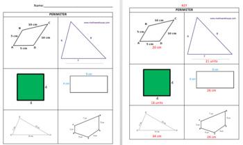 Perimeter Bundle- Interactive Notebook Foldable, Game, Quiz