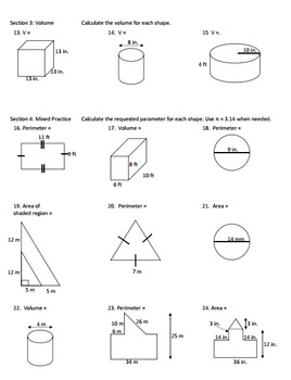 Perimeter Area Volume Geometry Worksheet
