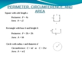 Perimeter, Circumference, and Area Power Point Lesson