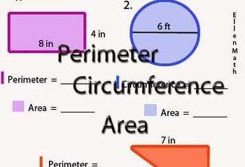 Perimeter, Circumference, and Area Practice BW