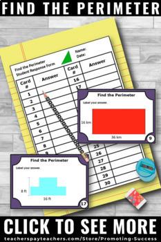 Perimeter Task Cards, 3rd Grade Math Review SCOOT, 3rd Grade Geometry Game