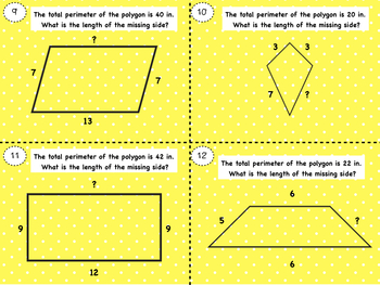 Perimeter: Find the Missing Side Task Cards