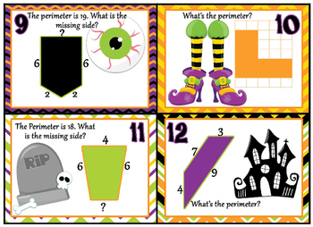 "Perimeter - Halloween themed ""Monster Mash Perimeter Bash"" Task cards"