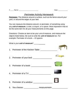Perimeter Homework-A Meaurement Activity