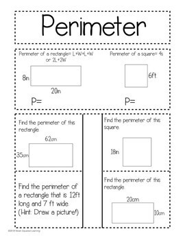 Perimeter Interactive Notebook Activity & Quick Check TEKS 4.5D