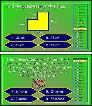 Perimeter Power Point Millionaire Game for 3rd Grade